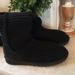 UGG Shoes - UGG Cardy Black 3 Button Knit High Boots